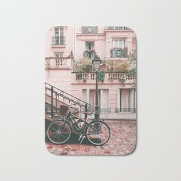 Bike in Paris Pink City Photography  Bath Mat