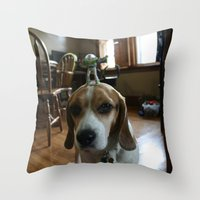buzz lightyear Throw Pillows featuring Bruno and Mini Buzz Lightyear by Bruno The Beagle