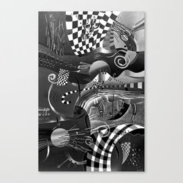 Black and white abstraction explosion of chess Canvas Print
