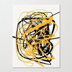 Zen abstract art in yellow and black Canvas Print