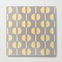 Modernist Geometric Pattern 432 Gray and Yellow Metal Print