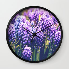 Vintage purple flowers Wall Clock