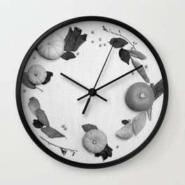 Harvest Circle (Black and White) Wall Clock