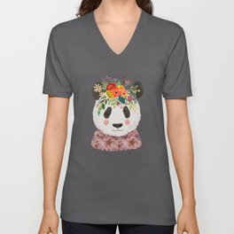 Cut Panda Bear with flower crown. Cute decor for kids Unisex V-Neck