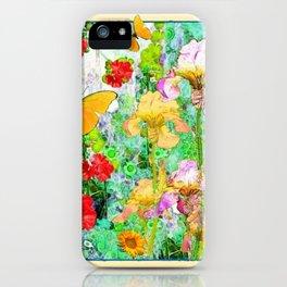 YELLOW IRIS BUTTERFLY SPRING GARDEN BURGUNDY TRIM iPhone Case