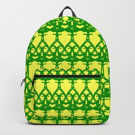 Wicker twisted pattern of wire and green arrows on a yellow background. Backpack