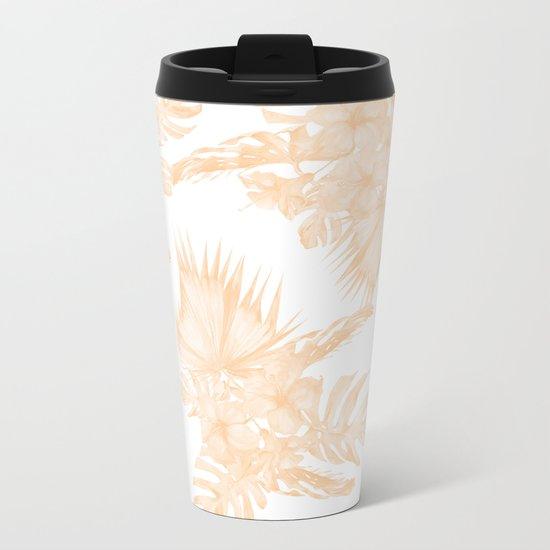Island Vacation Hibiscus Palm Coral Apricot Orange Metal Travel Mug