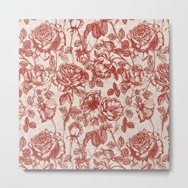 Toile de jouy (Roses) Metal Print
