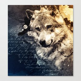 Vintage wolf, Mixed media Wolf Art, Wolf Painting, Wolf Decor, Best Wolf, Cool, Wolf Canvas Print