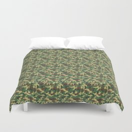 Military Camouflage Pattern - Brown Yellow Green Duvet Cover