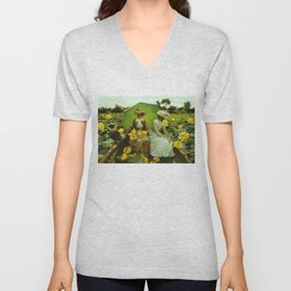 Spectacular 'Yellow Lotus Lilies' Floral Lily Pond portrait painting Charles Courtney Curran Unisex V-Neck