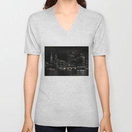 NYC Night Skyline 2015 Unisex V-Neck