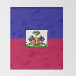 Haiti flag emblem Throw Blanket