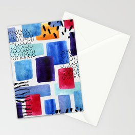 Watercolor geometric rectangles with doodles, grunge and paper textures Stationery Cards