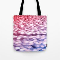 glitter Tote Bags featuring Pink Purple Blue Glitter by Whimsy Romance & Fun