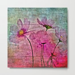 WATERCOLOR GRUNGE FLORAL COLLAGE Metal Print