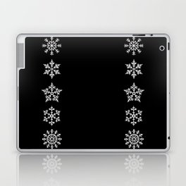 Five Different Snowflakes in a Row on a Black Background Laptop & iPad Skin