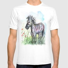 Zebra Whimsical Animal Art Mens Fitted Tee MEDIUM White