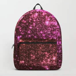 Galaxy Sparkle Stars : Coral Burgundy Pink Backpack
