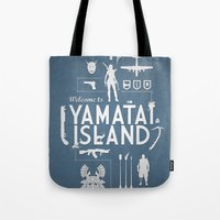 tomb raider Tote Bags featuring Welcome To Yamatai Island - Tomb Raider by s2lart