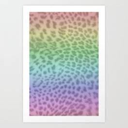 Pastel rainbow leopard print Art Print