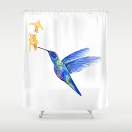 WATERCOLOR HUMMINGBIRD AND FLOWERS Shower Curtain