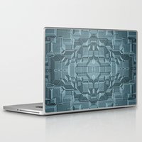 sci fi Laptop & iPad Skins featuring Future Sci Fi City by Phil Perkins