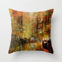 detroit Throw Pillows featuring An evening in Detroit by Ganech joe