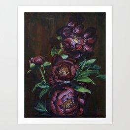 Marsala Peonies Art Print