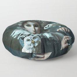 Owls Talk - dedicated to thee_owl_queen Floor Pillow