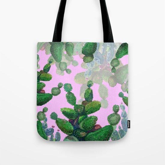 cactus pink back Tote Bag