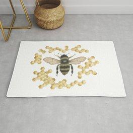 Honey Bee in Honey Comb Rug