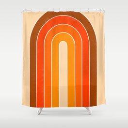 orange retro u stripes Shower Curtain