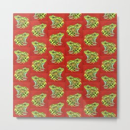 Spotted Frog Friend Pattern Metal Print
