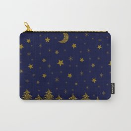 Sparkly Christmas tree, moon, stars Carry-All Pouch
