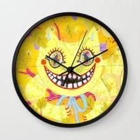cheshire cat Wall Clocks featuring Cheshire Cat by Janna Morton