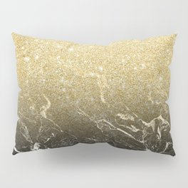 Modern girly luxurious faux gold glitter black marble pattern Pillow Sham