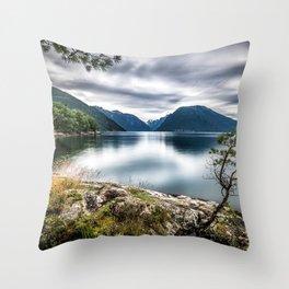 lake mountains Norway Dragsviki Sognefjord Throw Pillow