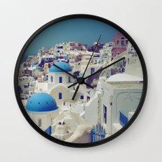 Blue Domes, Oia, Santorini, Greece Wall Clock