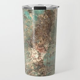 Turquoise and Fawn Brown Marble Travel Mug