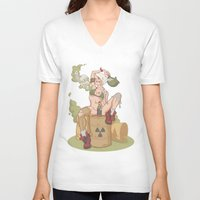 tank girl V-neck T-shirts featuring Tank Girl smells like toxic waste by Non Vale Art