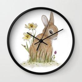 Rabbit Among the Flowers Wall Clock