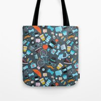 macaroon Tote Bags featuring Hipster pattern by Anna Alekseeva kostolom3000