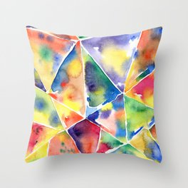 Geometric abstraction. Multicolor triangles. A kaleidoscope of shards, edges Watercolor hand-drawn. Throw Pillow