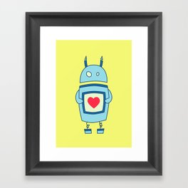 Cute Clumsy Robot With Heart Framed Art Print