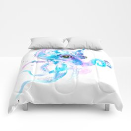 Sky Blue Soft Pink Turquoise Violet Octopus, teal animal beach art Comforters