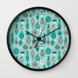 Ornaments christmas vintage classic turquoise and white hand drawn christmas tree ornament pattern Wall Clock