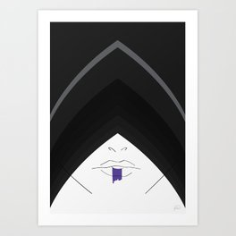 ... the hood was adopted to give her a more mysterious, stealthy look.  Art Print