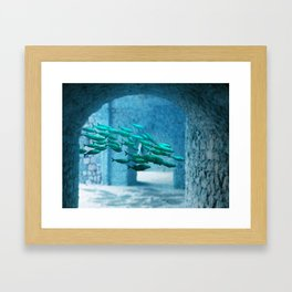 fishes in the water Framed Art Print
