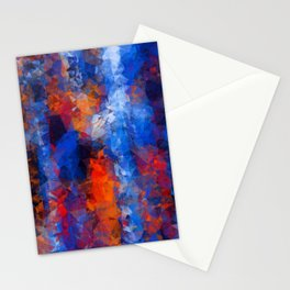psychedelic geometric polygon shape pattern abstract in red orange blue Stationery Cards